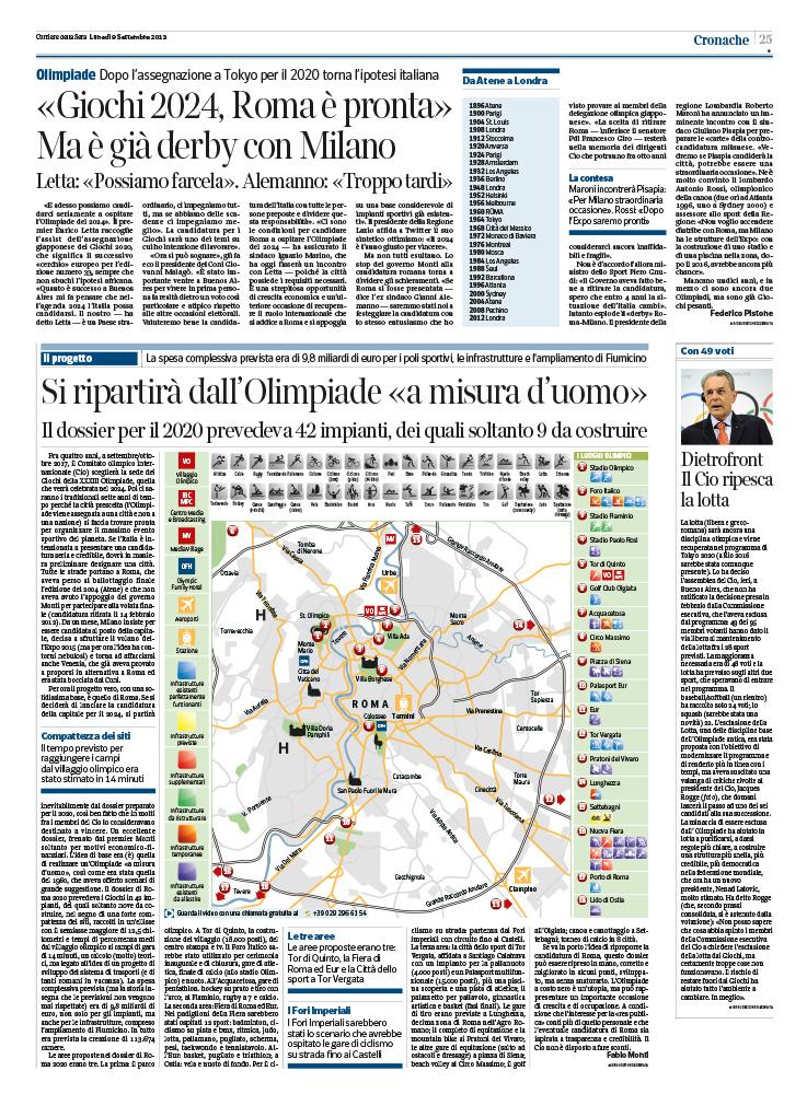 Giochi 2024, Roma è pronta ma è già derby con Milano